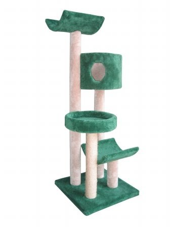 Cat Tree with Condo, Bed and Cradles Parts Color: Hunter Green, Poles Color: Hunter Green