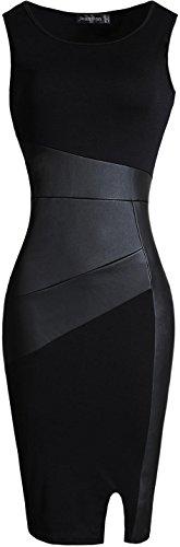 jeansian Women's Faux Leather Stitching Sleeveless Bodycon Dress WKD227