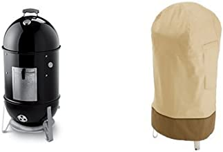 Weber 721001 Smokey Mountain Cooker 18-Inch Charcoal Smoker Black with Classic Accessories Cover