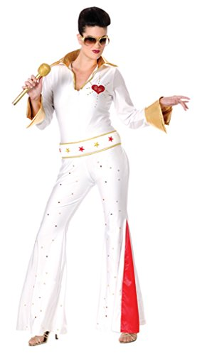 Funworld Womens Fancy Dress Elvis Female Jumpsuit Theme Party Halloween Costume