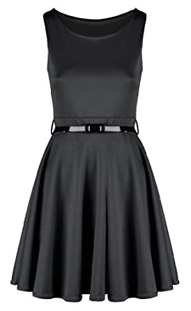 Ladies Belted Pleated Plus Size Sleeveless Skater Dress (16-18, Charcoal)