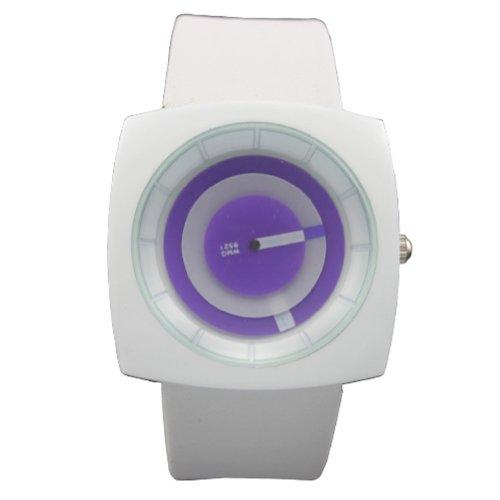 WLM Unisex Leatheroid Made Band Square Shape Round Purple Dial Quartz Wrist Watch Watches