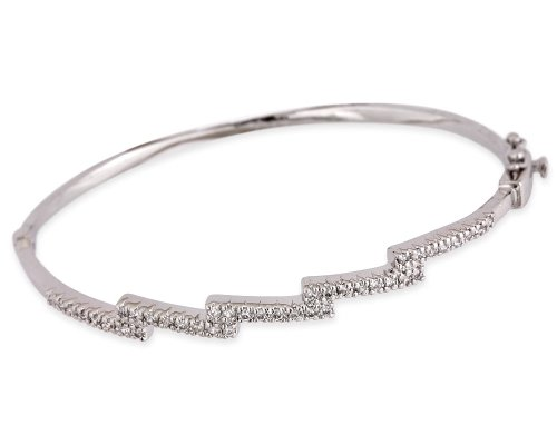 Cubic Zirconia Diamond Sterling Silver Steps Style Wedding Bangle (Nice Holiday Gift, Special Black Firday Sale)
