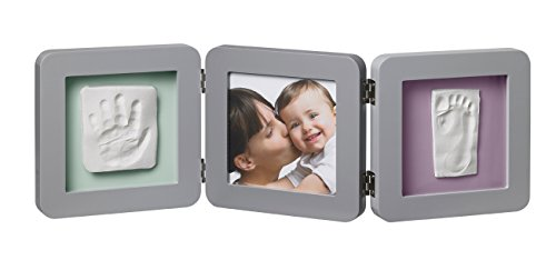 Baby Art - 34120139 - Double print frame - Portafoto con calco della manina o del piedino del bebè,Grigio
