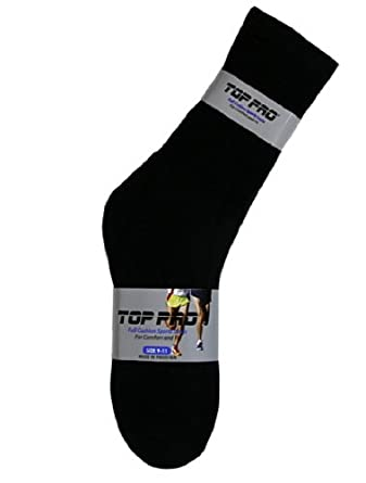 TOP PRO Mens 1 Pair Crew Sports Socks Black Plain, Size 09 - 11 inch