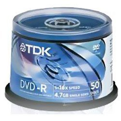 Tdk- Dvd-R47Cbed50 Dvd-R Recordable 1-16X Speed (50 Spindle Pack)