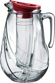 Bormioli Rocco Rolly Jug With Ice Container And Red Lid, 87-1/4-Ounce