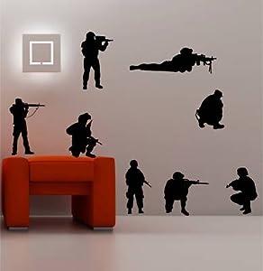 Online Design 8 X Soldiers Army Military Wall Art Sticker Vinyl Kids - Black