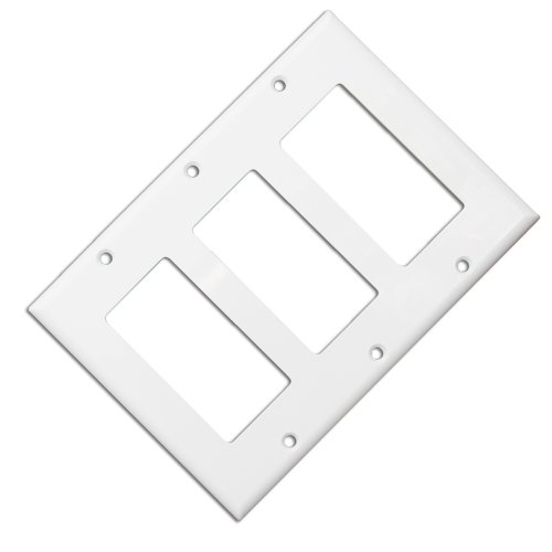 Cable Wholesale Wall Plate, Blank Decora , Triple Gang White (302-3-W) -