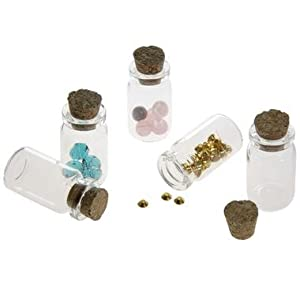 5 minis pendentifs fioles bouteilles flacons en verre création bijoux fimo - 22 x 40 x 12.5 mm