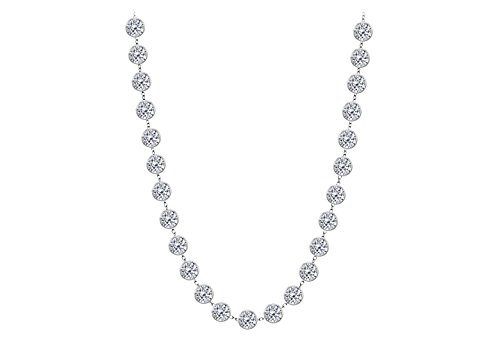 Cubic Zirconia By The Yard Necklace In 925 Sterling Silver 7.00 CT TW