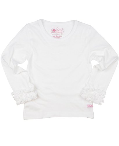 RuffleButts® Infant / Toddler Girls Ruffled Long Sleeve Undershirt Tee - White - 12-18m