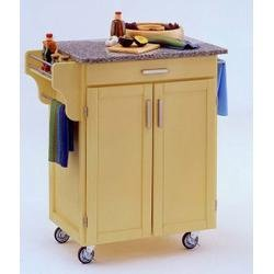 Cheap Kitchen Cart in Butter Yellow with Granite top – 90010053 (9001-0053)