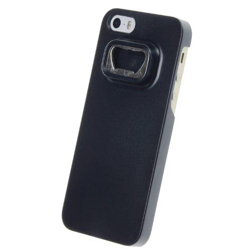 doupi® Flaschenöffner Case (Schwarz) für Apple iPhone 5 iPhone 5S Hülle Bier Öffner Cola Opener Schale Bumper Schutzhülle Cover Schwarz + Bonus (1x Display-Schutzfolie)