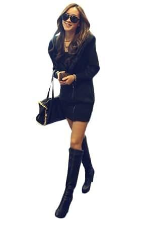 Farleen - Sweats Elégant à Capuche Manche Longue Manteau Pull Haut Veste Hoodie Coton Hiver- Femme (FR M 38 à 42 -Tour de poitrine 96cm, Noir Classique)