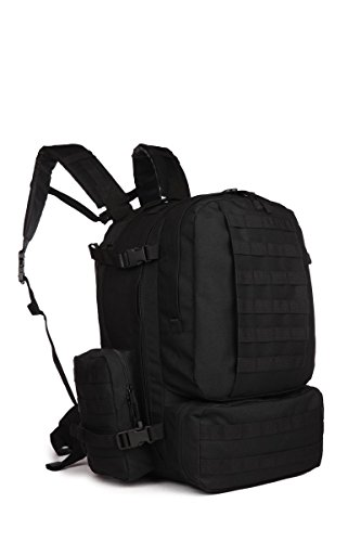OutGear Military Molle Assault 3-Days Large Tactical Backpack with Grenade Survival Kit, Black
