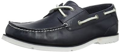 Rockport Men's Summer Tour 2 Eye Leather Navy/White Boat Shoe V73566 6.5 UK
