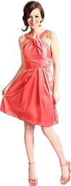 Taffeta Halter Bridesmaid Dress Prom…