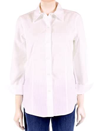 Women 39 s 3 4 sleeve fitted bamboo jaquer in white by for Bamboo button down shirts