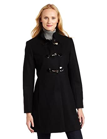 Via Spiga Women's Military Toggle Coat, Black, 4