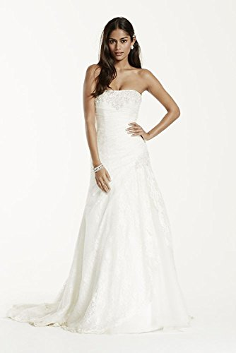 Petite A-line Side Split Wedding Dress with All Over Lace Style 7YP3344,...