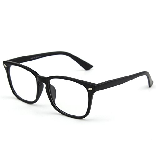 [Glasses Queen 201582 Large Oversized Frame Horn Rimmed Clear Lens Glasses(Matte Black)] (Geek Chic Glasses)