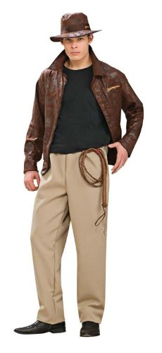 Men's Indiana Jones 80s Movie Costume with Hat, Jacket and Trousers - Two Sizes