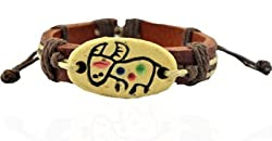 90210 CALIFORNIA Taurus Engraved Stone Tan Brown Faux Leather Bracelet