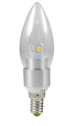 1X E14 3W LED Kerze wie Lampe Birne LED Leuchtmittel mit Aluminium-Karosserie (Kaltweiß 6000K, 270Lumen, 360º Abstrahlwinkel, AC 85V - 265V - Ø35×115mm) Energiespar Licht - Silber