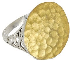 STERLING SILVER 18K GOLD PLATED HAMMERED FILIGREE RING BAND SIZE 6