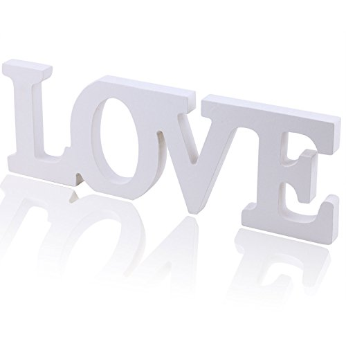 Vlovelife LOVE White Wooden Letters Wedding Top Table Sign Centerpiece Gift Photography Props Decor Present (Love Decor Tabletop compare prices)