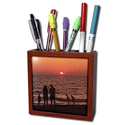 Florene Sunset - Vacation - Tile Pen Holders-5 inch tile pen holder
