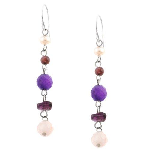 Sterling Silver Freshwater Cultured Pearl Rose Quartz, Amethyst and Garnet Beaded Drop Earrings