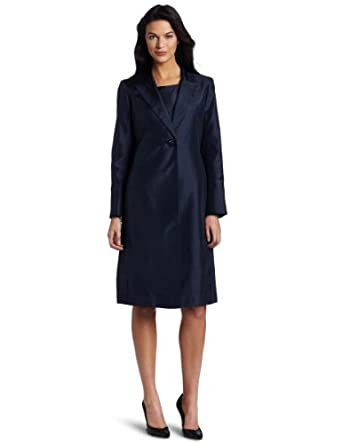 Lesuit Women's Shantung Jacket Dress Suit, Navy, 6