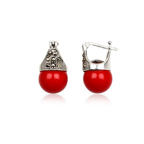 925 Sterling Silver 12mm Red Coral Marcasite Fashion Earring Jewelry
