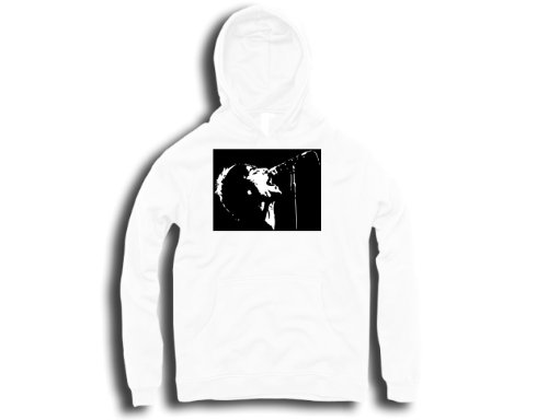 DTG Clothing RocknRoll Liam Gallagher Singing Stencil Pop Art Mens Hoodies - White - Mens XX-Large