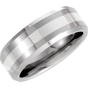 Beveled Band W/Silver Inlay NA 8