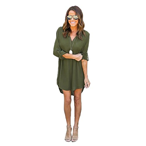 Creazy® Women Blouse Chiffon Long Sleeve T Shirt Casual Dress Tops (L, Green) (Blouse Thermal compare prices)