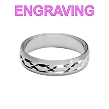 buy So Chic Jewels - 925 Sterling Silver 5 Mm Brushed Effect Motif Wedding Band Ring - Your Message Engraved Free - Size 8.5