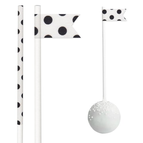 Dress My Cupcake Dmc30392 50-Pack Party Cakepop Sticks Diy Kit, 6-Inch, Black Polka Dots On White front-516830