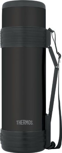 Thermos Vacuum Insulated Beverage Bottle With Folding Handle, 61-Ounce, Matte Black front-570638