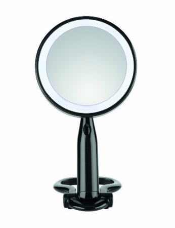 Conair Be52Ledbk Reflect Urban Plastic Led Beauty Mirror, Round, 1X/3X Magnification, Black front-749779