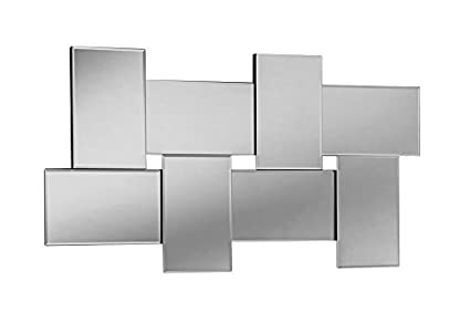 Yearn 8-Panel Wall Bevelled Modern Glass Mirror, 76 x 127 cm, Silver