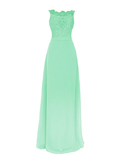 Tidetell Christmas Backless Bridesmaid Chiffon&Lace Long Prom Evening Gowns Mint Size 12