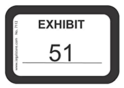 LegalStore Exhibit Labels, Numeric White 51-100, Laser Compatible on 8.5\