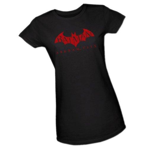 Red Bat -- Batman Arkham City Crop Sleeve Fitted Juniors T-Shirt