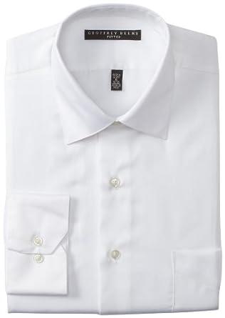 Geoffrey Beene Men's Fitted Sateen Dress Shirt, White, 14.5/32-33