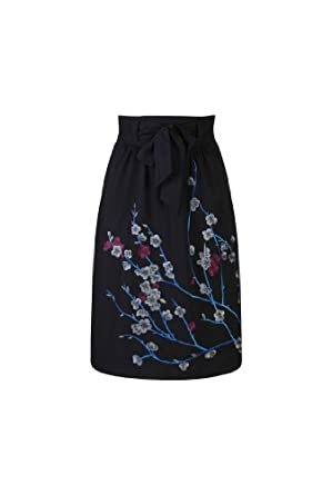 eShakti Women's Winter floral embellished skirt XS-2 Tall Black multi