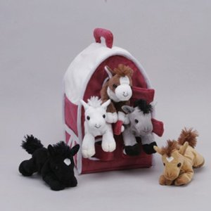 Plush Horse Barn with Horses - Five (5) Stuffed Animal Horses in Play Carrying Barn Case