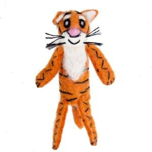 Wild Woolie Tiger Hand Felted Ornament Finger Puppet Fair Trade Made in Nepal - 1